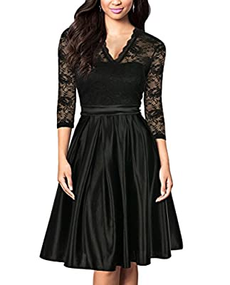 Mmondschein Women Vintage 1930s Black Lace A-Line Party Swing Evening Dress