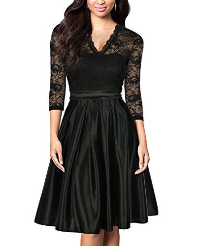 Vintage Style Formal Dresses - Mmondschein Women Vintage 1930s Style 3/4 Sleeve Black Lace A-line Party Dress Black M