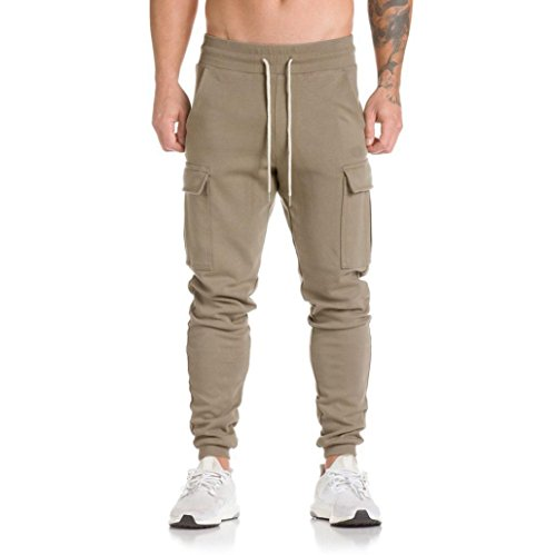 AMSKY Men Trousers,Harem Sweatpants Slacks Active Running Casual Jogger Dance Sportwear Baggy Pants (L, Khaki) (Peached Chino)