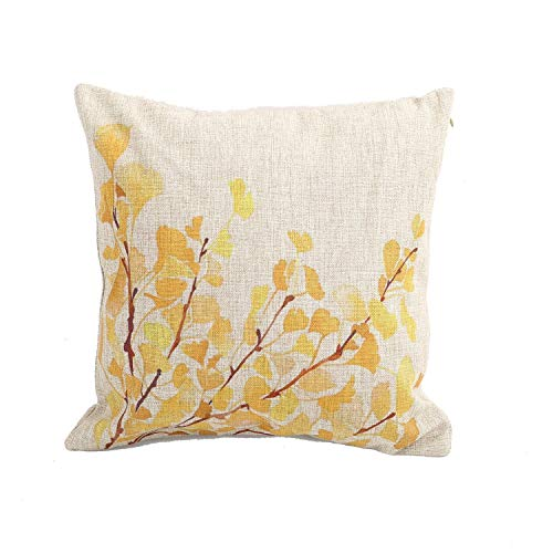 METAA Throw Pillow Covers Natural Linen Look Fabric Decorative Sofa Square Cushion Pillow-Cases 18 x 18 inch