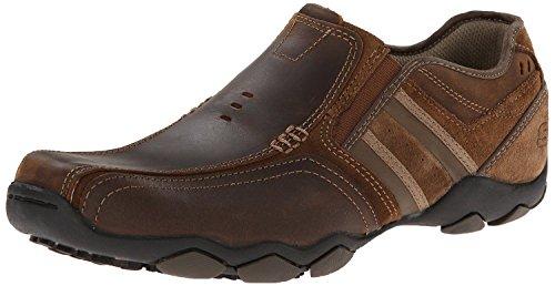 Skechers Diameter Zinroy Dark Brown Mens Leather Slip Ons Shoes
