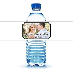 "100 Personalized Water Bottle Labels for Wedding 8""X2"""