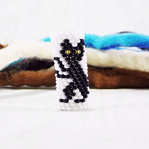 Handmade Black cat Tube dread beads unisex dreadlock Hair accessories Halloween jewelry