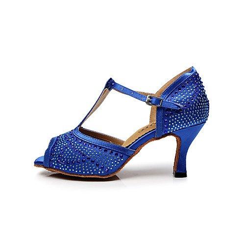 Profesional Practice Zapatos Negro T Tacón de Jazz Q naranja Tango T Performance baile aguja Sandalias de Swing Salsa Indoor mujer Naranja Púrpura para latinas Azul Satén qBEw7Pw