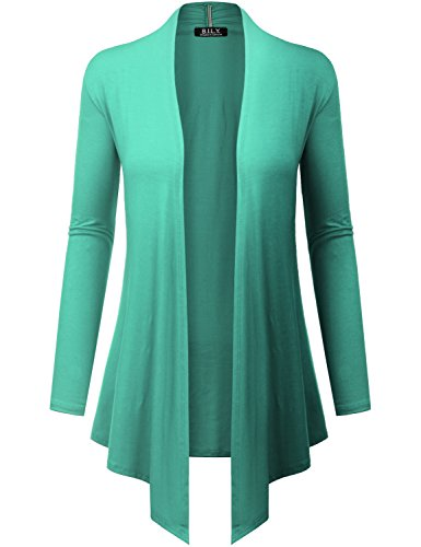 Open Front Drape Hem Lightweight Cardigan Mint 2 Small ()