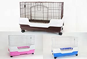 """Homey Pet Rabbit Chinchilla Hamster Rat Ferret Cage with Pull out tray, Urine Guard and Lockable Casters, Pink, L26""""x W18""""x H21"""""""