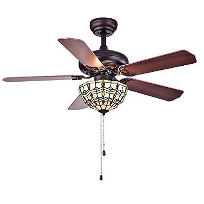 Warehouse of Tiffany CFL-8169BL Doretta Tiffany Bowl 3-Light 42 inch Ceiling Fan