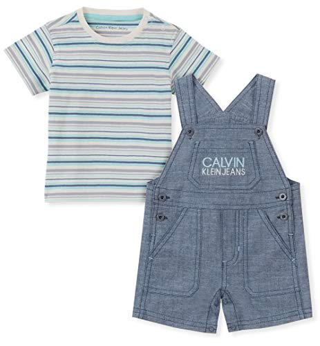 Calvin Klein Baby Boys 2 Pieces Shortall, Vanilla/Blue, 18M]()