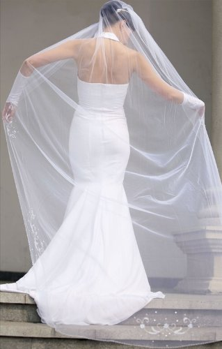 Bridal Veil White 1 Tier Cathedral Length With Sequins, Faux Pearls, Bugle Beads by Velvet Bridal (Image #4)