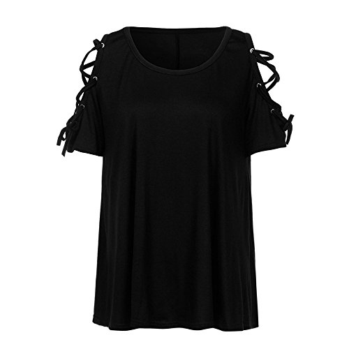 Women/'s Casual Cold Shoulder Loose Strappy Long Sleeves Tunic Tops Basic T-Shirt