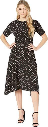 - London Times Women's Short Sleeve Hankie Hem w/Waist Detail Dress Black/Apple 4