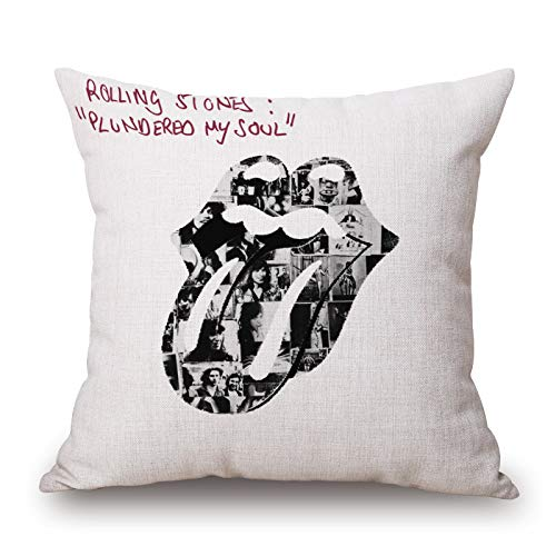 JJZHY The Rolling Stones Band Cotton and Linen Cushion Cover Sofa Cushion Cover 4545cm,2,One Size