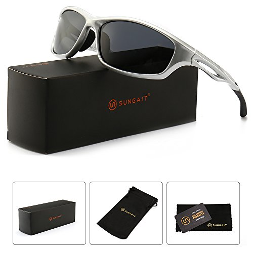SUNGAIT Lightweight Sports Sunglasses HD Polarized Lens UV 400 Protection (Sliver Frame/Grey Lens, 65) Plastic Frame 8848 YKHU