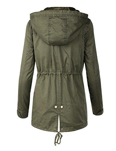 BILY Women Junior Fit Military Anorak Safari Hoodie Jacket Olive Medium