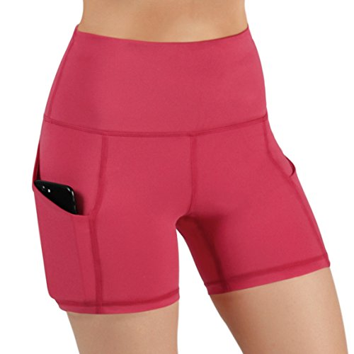 Control Fitness - ODODOS High Waist Out Pocket Yoga Short Tummy Control Workout Running Athletic Non See-Through Yoga Shorts,Coral,X-Large