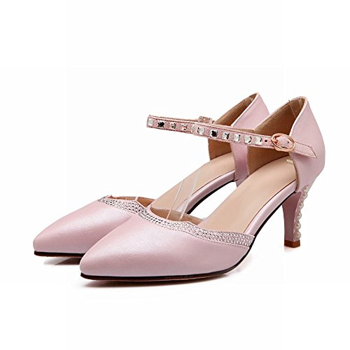 Carol Shoes Elegance Womens Sweet Shiny Strass In Rilievo A Punta Alta Sandali Con Tacco A Spillo Rosa
