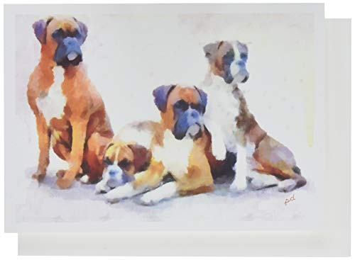 Boxer Quartet - Blank Note Cards - Set of 6 with Envelopes by DoggyLips