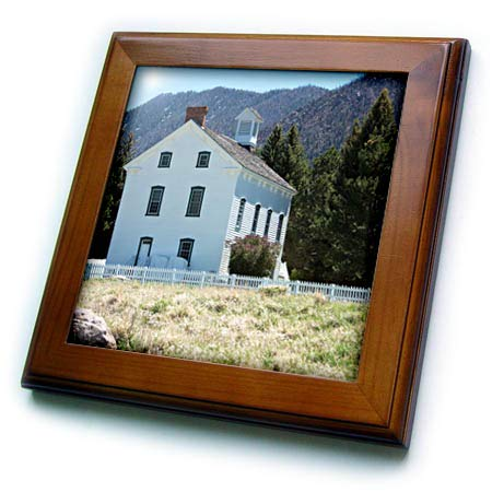 3dRose Jos Fauxtographee- Chapel - The Church of Jesus Christ Old Historical Chapel in Pine Valley - 8x8 Framed Tile (ft_317908_1)