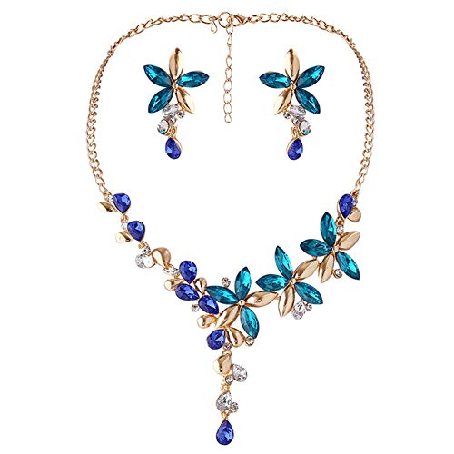 (MeniaMeow Crystal Leaves Flower Jewely Set, Rhinestone Necklace Water Drop Five Leaf Floral Earrings Chains Choker Necklace and Earrings Suit Best Gift for Women (Blue))