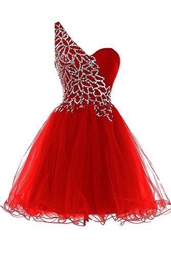 Court Tulle Robes De Mariée Une Robe De Cocktail De Bal Épaule Femmes Ainidress Rouge