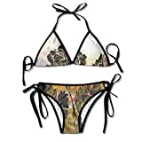 Jiuyuan Women's Abstract Flower Beachwear Swimsuit Adjustable Sexy Bikinis Set