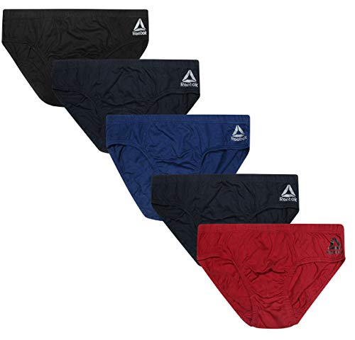 Reebok Men's Low Rise Underwear Briefs (5 Pack), Navy/Blue/Black/Red/Navy, X-Large - Low Rise Brief Underwear