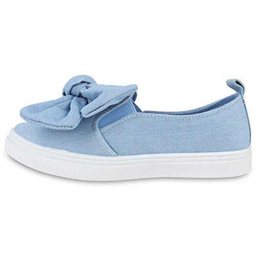 Stiefelparadies Bequeme Damen Slipper Sneaker Slip-Ons Leder-Optik Metallic Schuhe Schleifen Flats Denim Velours Flandell Hellblau Denim Schleife