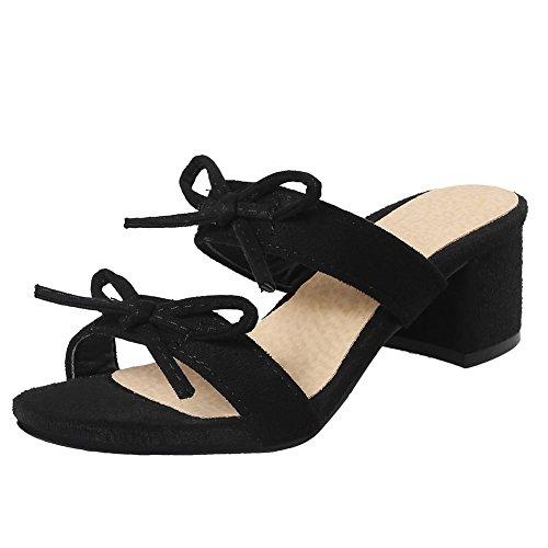 Mee Shoes Damen Blockabsatz mit Schleifen Open Toe Pantoffeln Schwarz
