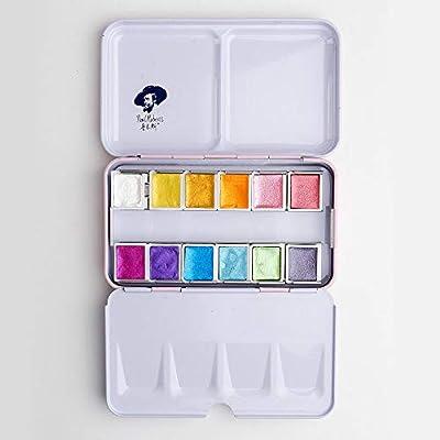 Paul Rubens Artist Pinturas de Acuarela-Glitter Colores sólidos-Rosa Estuche de Metal portátil con paleta-12 Colores: Amazon.es: Hogar
