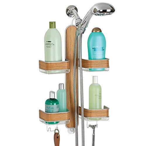 mDesign Metal Hanging Bath and Shower Caddy Storage Organizer for Hand Held Shower Head and Hose - 2 Levels for Bathroom Showers, Stalls, Bathtubs - 4 Shelf Format - Satin/Teak Wood Finish -
