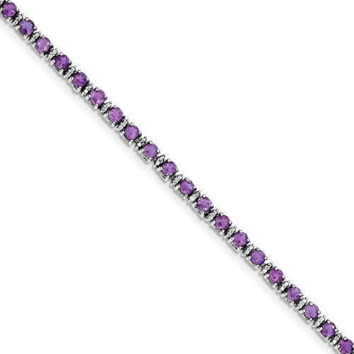 925 Sterling Silver Purple Amethyst Diamond Bracelet 7 Inch Gemstone Fine Jewelry Gifts For Women For Her