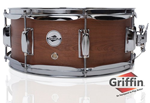 "Griffin Snare Drum | Poplar Wood Shell 14"" x 5.5"" with Flat Hickory PVC Finish 