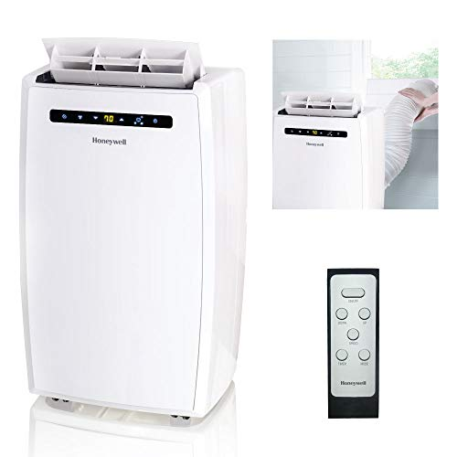 Honeywell MN10CESWW 10000 BTU Portable Conditioner, Dehumidifier & Fan for Rooms Up to 350-450 Sq. Ft. with Thermal Overload Protection, Washable Air Filter & Remote Control, White ()