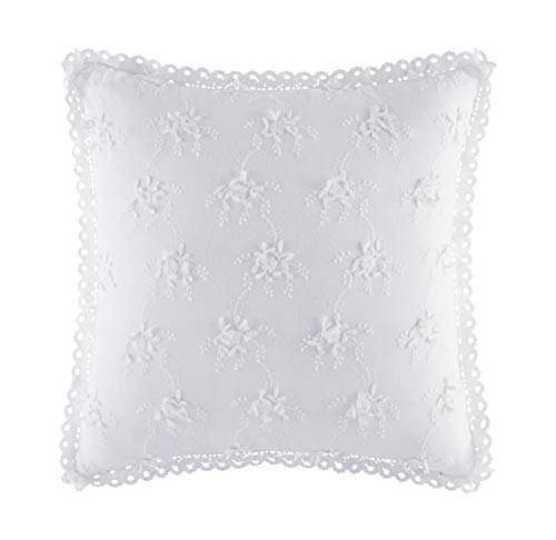 Five Queens Court Rosalind Embroidered Floral 17 Inch Square Throw Pillow, White, Pink