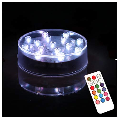 ARDUX 4 inch Round 15 Leds RGB LED Vase Base Light with 18 Key Remote Control for Home Vases Table Decoration ()