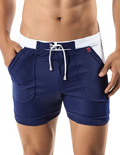 Clever Swimwear (Clever 0574 Copacabana Swimsuit Trunk Color Blue-White Size)