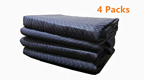 4Pack Moving Packing Blankets 82'' x 72'' Heavy Duty Professional Quality Move Pack Furniture Pads Navy Blue Color for Storage Camping Office Soundproof Protect Your Furniture During Move (40 LB/Doz) by Elysian (Image #9)