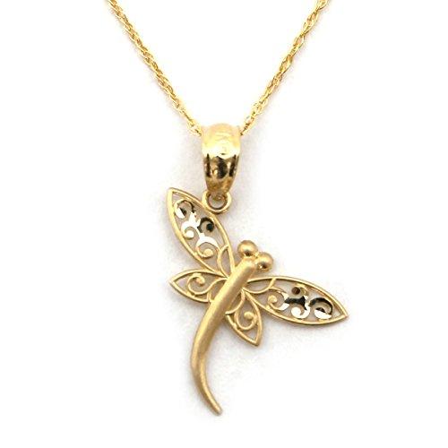 Beauniq 14k Yellow Gold Filigree Dragonfly Pendant Necklace - (14k Dragon Pendant)