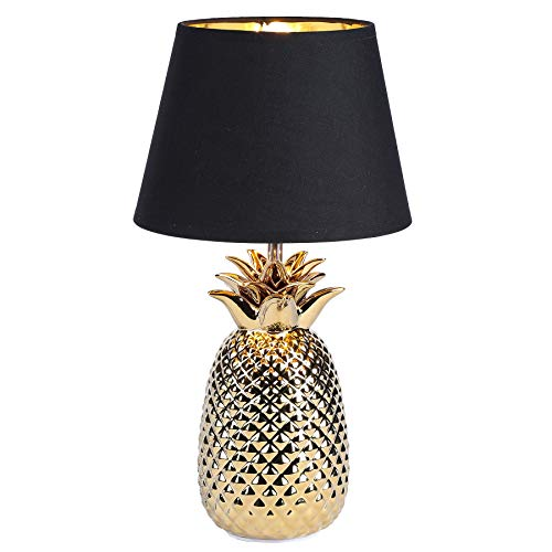 CO-Z Gold Desk Lamp with Ceramic Pineapple Base, 16 Inches Accent Lamp Bedside Lamp with Black Fabric Shade, Modern Table Lamp for Living Room, Bedroom, Farmhouse UL certificated. (Gold)