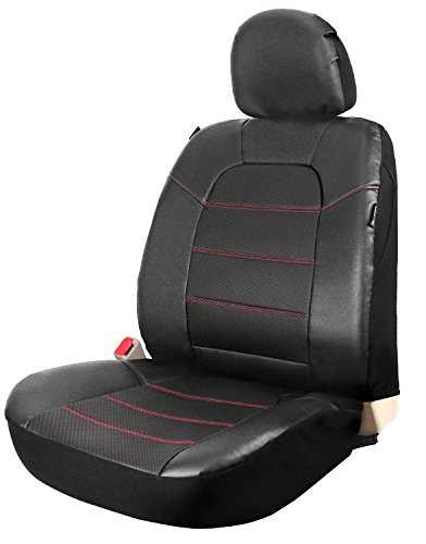 Leader Accessories One Leather Auto Seat Cover for Car Front Seats Universal Fits Trucks SUV with Airbag/Back Pocket Black -