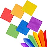 Whaline 120 Pieces Rainbow Cocktail Paper Napkin Bright Beverage Luncheon Napkins 2 Ply for Party Decoration