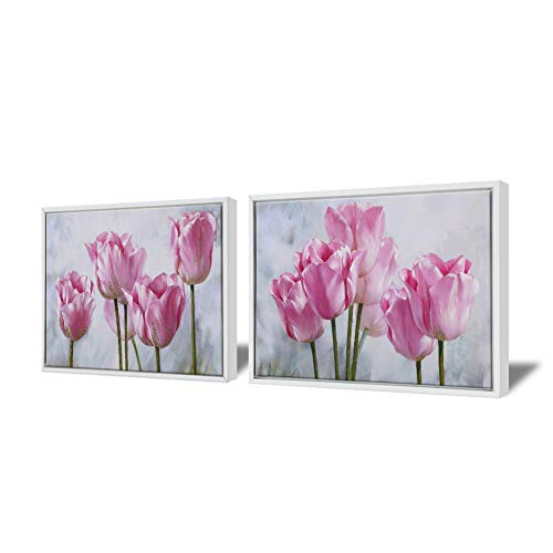 Tulips Pictures Flower (Contemporary Floral Wall Art Print Framed Pink Tulip Wall Picture Flower Canvas Painting with White Frame for Bedroom Bathroom Girls Room Apartment 12x16 inch x 2 Pieces)