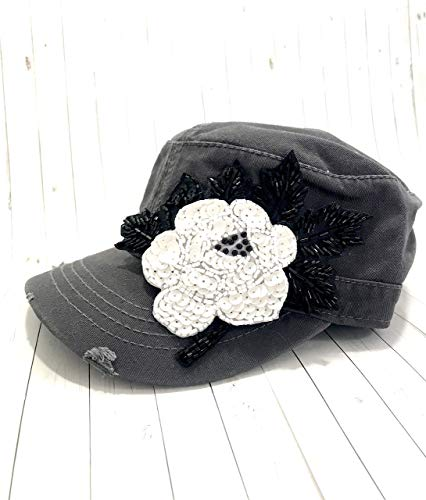 - Shop DAYLE Gray Hat with Large Crystal Beaded Flower Bling