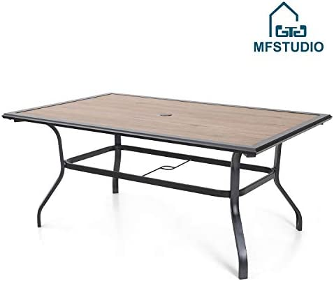 MFSTUDIO 60 x 37 Patio Dining Table Large Rectangular Table, Backyard Bistro Outdoor Furniture Garden Table with Metal Frame and Umbrella Hole, Brown