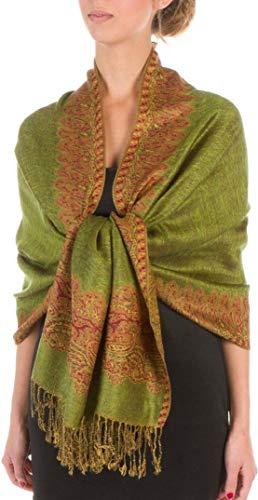 (Flora OLIVE GREEN Elegant Reversible Paisley Border Pattern Pashmina Shawl Wrap Scarf Double Layer #WHTH)