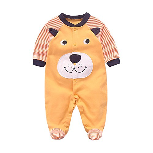 Fairy Baby Newborn Baby Boys Girls Footed Pajamas Long Sleeve Animal Print Sleeper Romper Size 6-9M (Yellow (Fairy Cow Print)