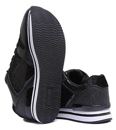 Negro Mujer flda54fab12 Guess Eu Lentejuelas Sneakers 5XxqwPnS