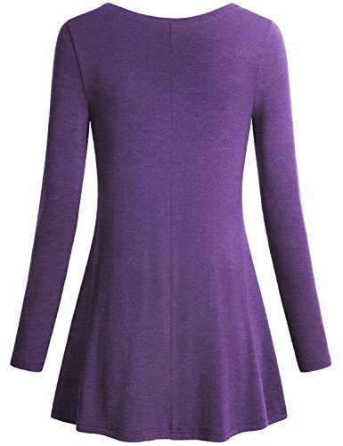 Miusey Women's V Neck Long Sleeve Flared Shirt Flowy Loose Fit Casual Tunic Tops (X-Large, Purple) by Miusey (Image #1)
