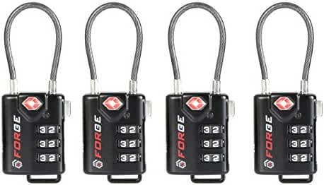 TSA Approved Cable Luggage Locks, Easy Read Dials with Alloy Body