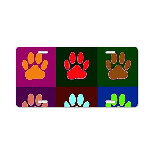 CafePress - Andy Warhol Style Dog Paw P - Aluminum License Plate, Front License Plate, Vanity (Andy Sticker)